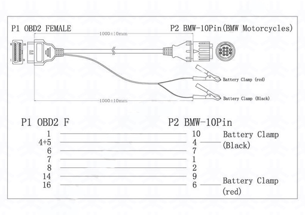 Obd2 Female To BMW10pinbattery Cl2 Cableall Obd1 Cable. Wele Oem Pls Advise The Pin Assignment When You Request Sles. BMW. BMW Obd2 Connector Pinout Diagram At Scoala.co